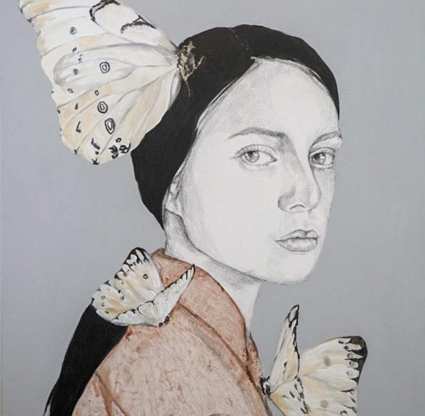 girl with moths
