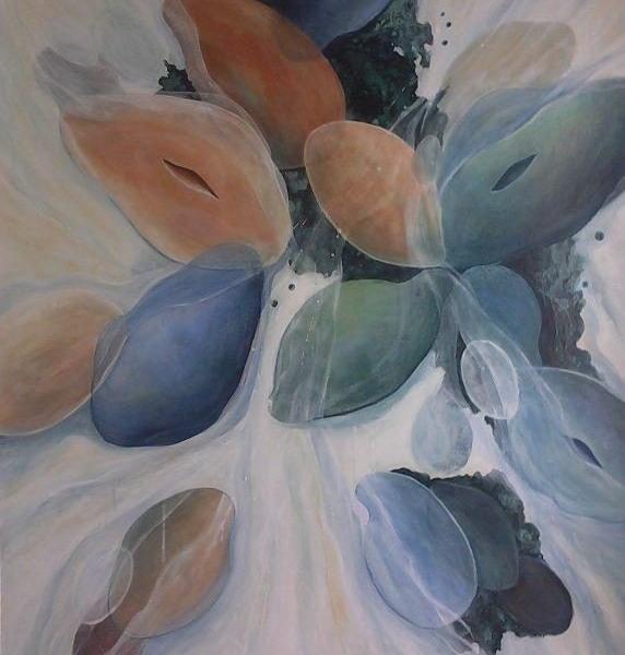 """Early Genesis 2,"" Acrylic on Canvas,  36 x 48,   2018"