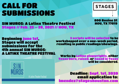 CALL FOR SUBMISSIONS - Sin Muros: A Latinx Theatre Festival
